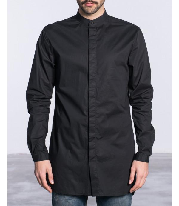 Camicia minimal a scollo coreano extra long fit