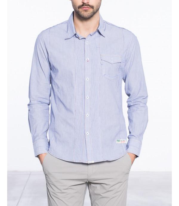 Camicia regular fit a righe e taschino decorativo