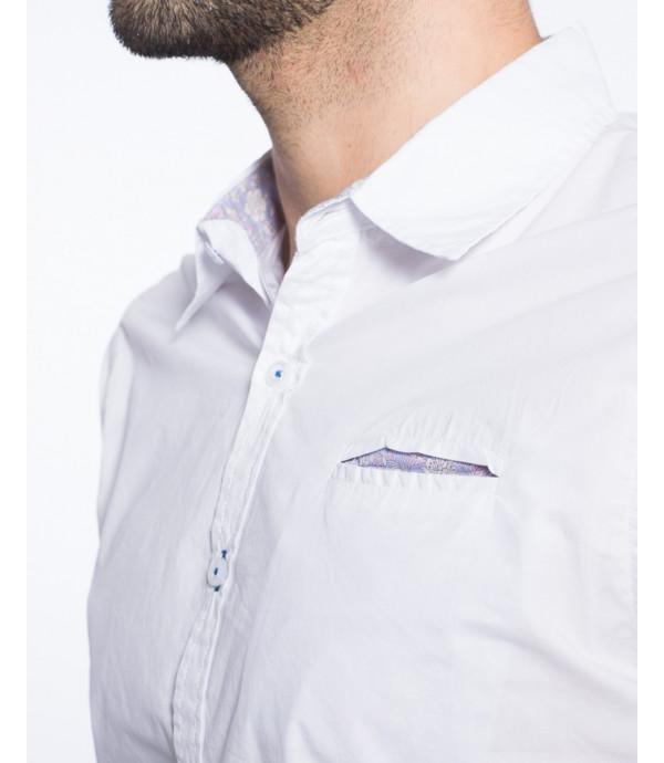Camicia slim fit con taschino floreale nascosto e roll-up tab con clip in metallo