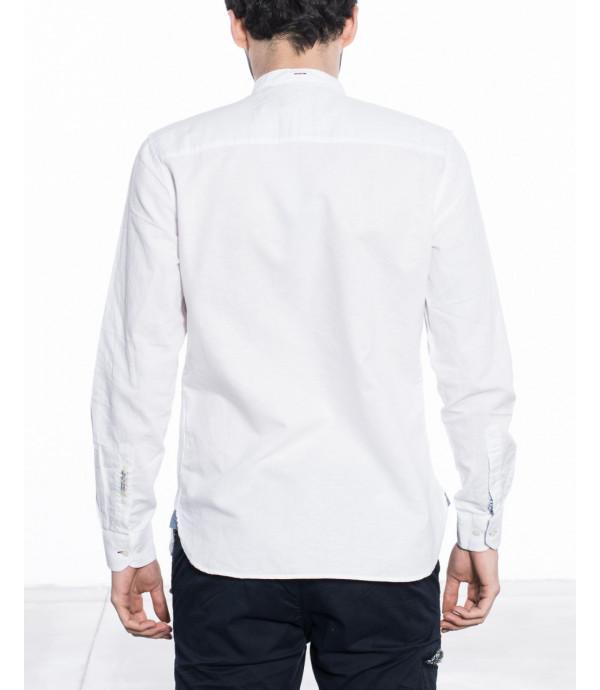 Camicia elegante misto lino con pettorina taschino e collo serafino