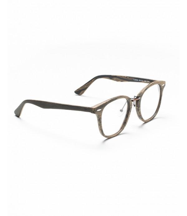 Occhiali a lenti trasparenti squadrate con nasello in metallo