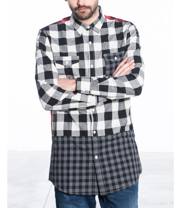 Camicia long fit a quadri a blocchi
