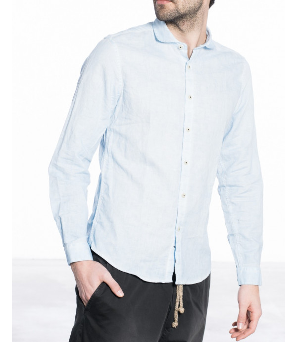 Camicia in misto lino con colletto francese