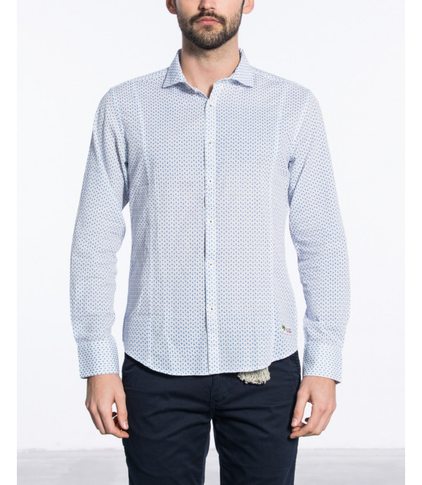Camicia regular con collo alla francese in microfantasia