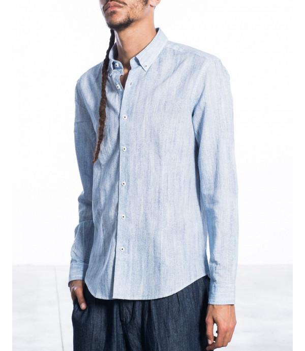 Camicia button down in misto ramie e cotone