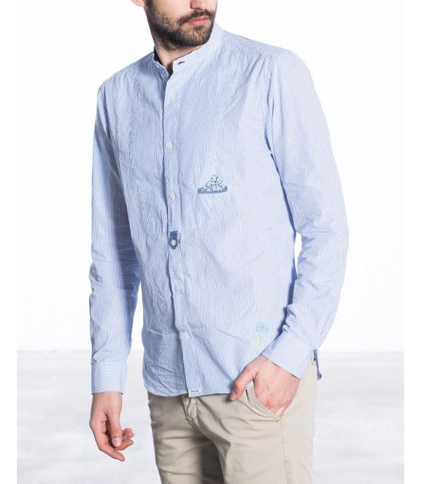 Camicia coreana con pettorina a righe