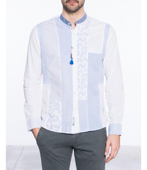 Camicia regular con scollo alla coreana patch e pendaglio