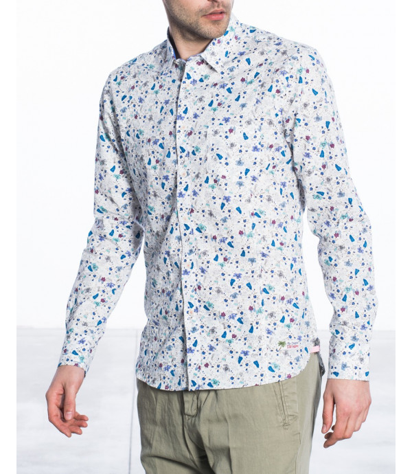 Camicia regular fit in microfantasia floreale