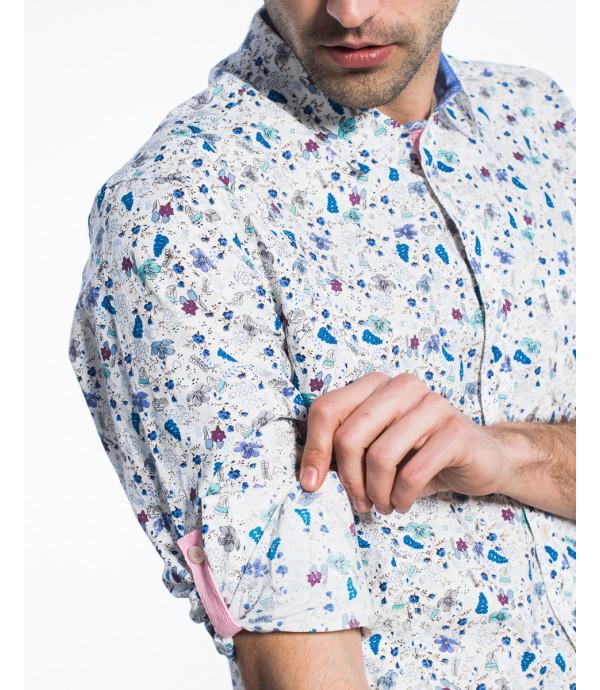 Camicia regular fit in microfantasia floreale