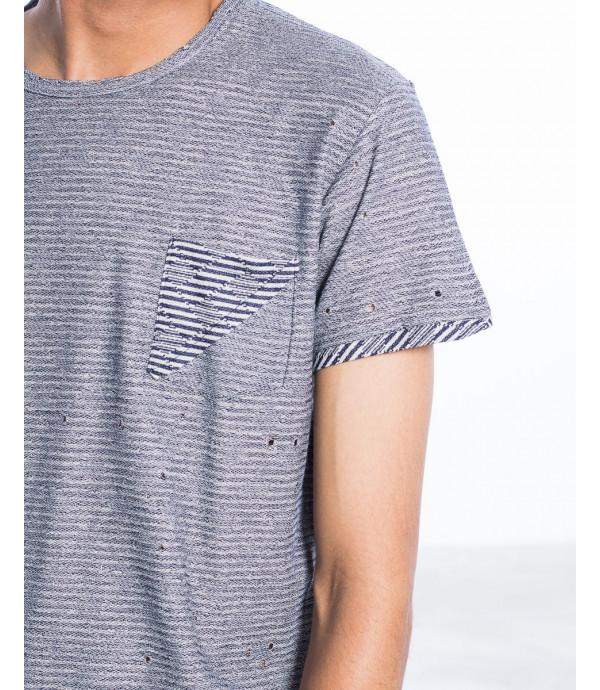 T-shirt a righe effetto consumato con taschino