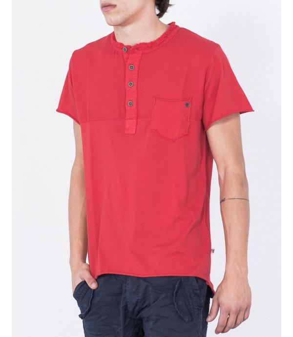 T-shirt serafino a blocchi di tessuto