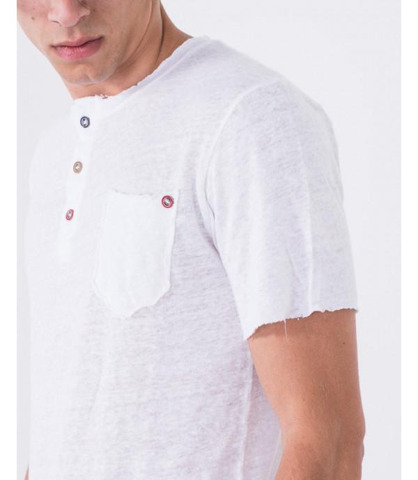 T-shirt serafino con orli a taglio vivo