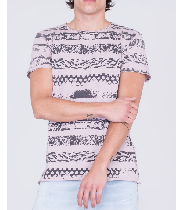T-shirt a righe stampate
