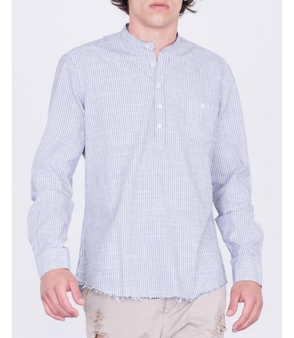 Camicia coreana a righe con taschino