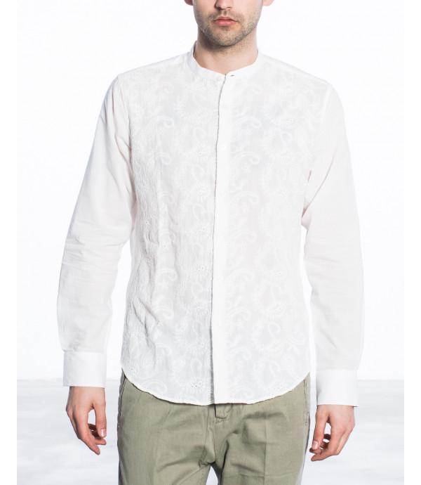 Camicia coreana regular fit con ricami cachemire