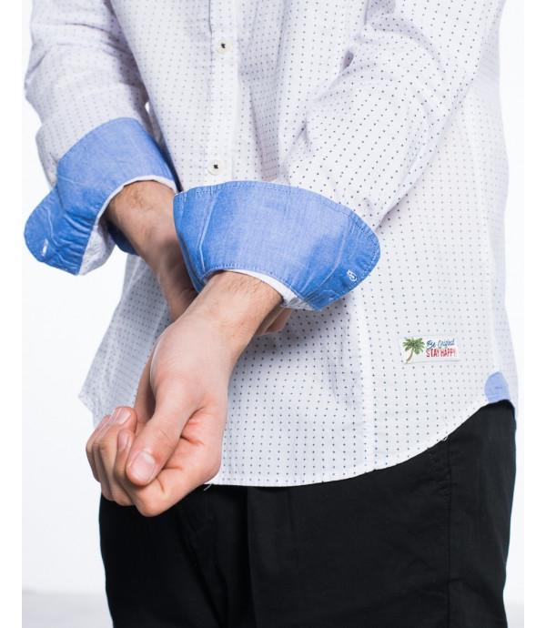 Camicia coreana regular in fantasia puntinata