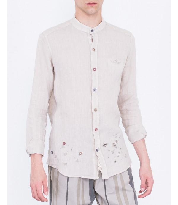 Camicia regulart fit in lino con bottoni diversi