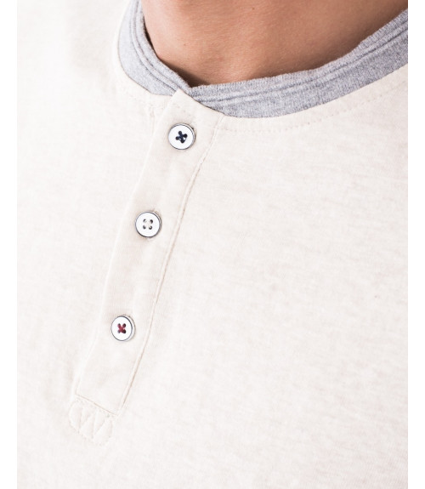 Maglietta a maniche lunghe con collo in contrasto