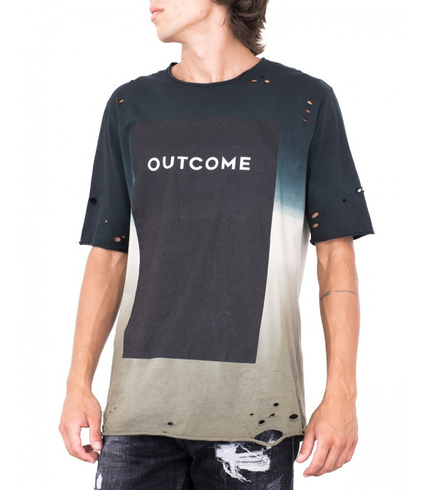 T-shirt in dissolvenza con logo OUTCOME