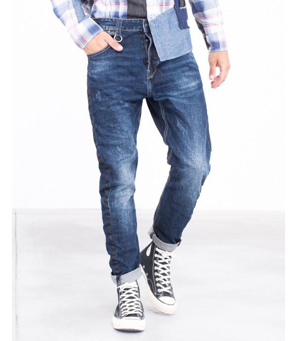 Jeans slim fit cavallo basso con striscia devorativa