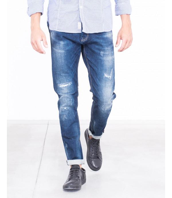 Jeans slim fit slavato rip and repair