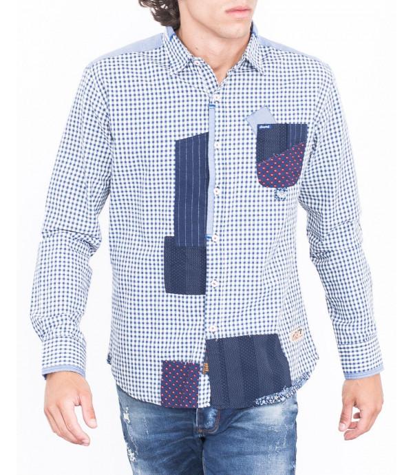 Camicia a quadri con patchwork