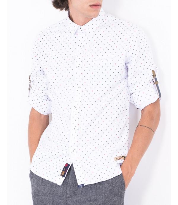 camicia in fantasia con linguetta ferma maniche