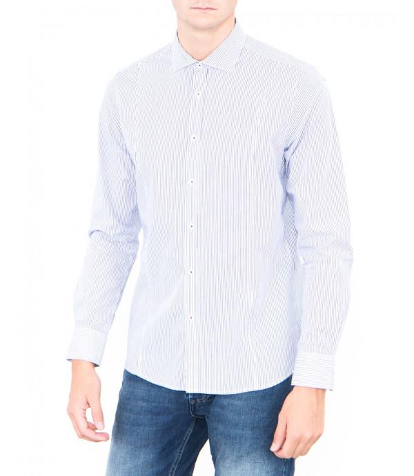 Camicia a righe blu e nere