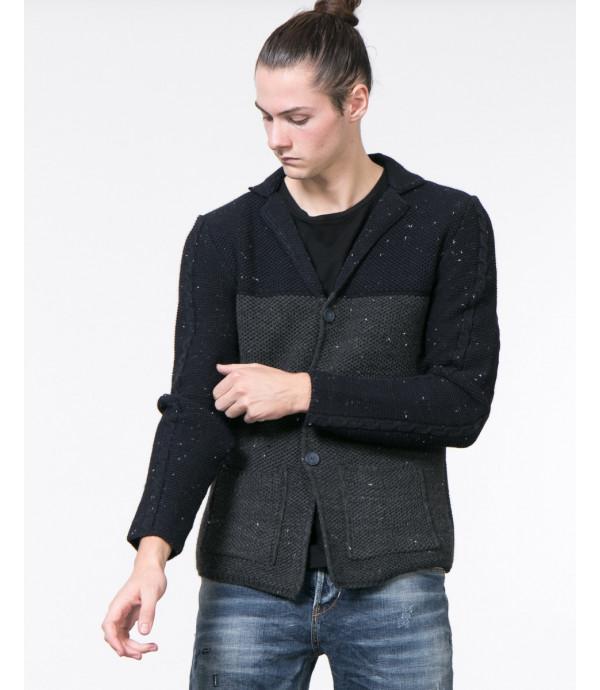 Cardigan fabric block puntinato