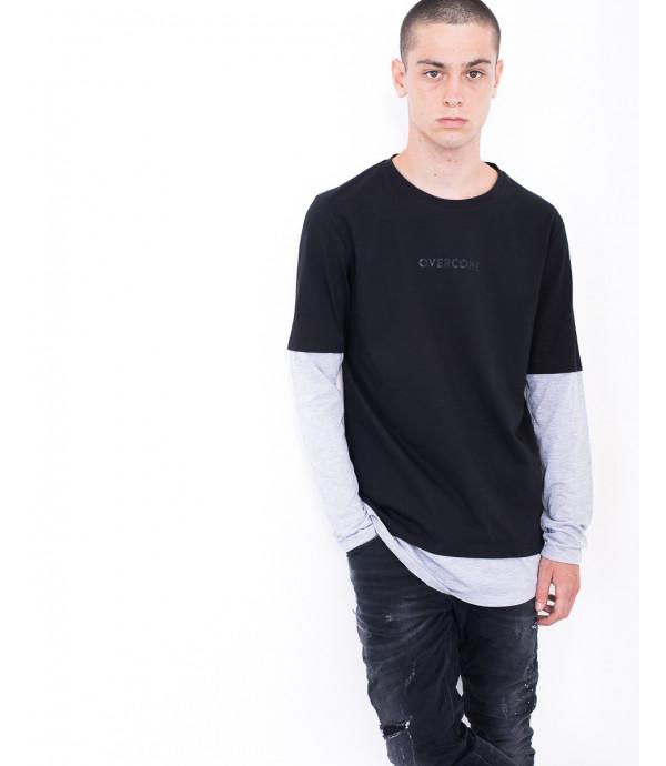 T-shirt doppia manica con logo OUTCOME