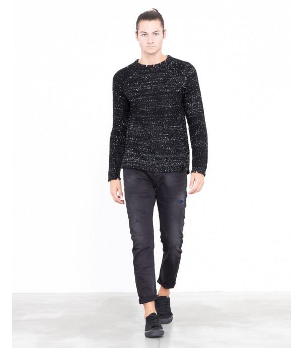 Maglione sfrangiato bianco e nero