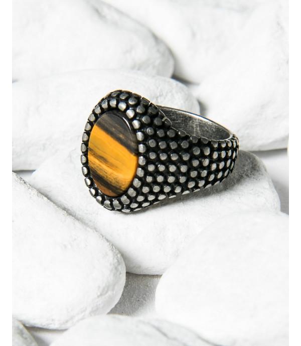 Anello spikes ovale con pietra
