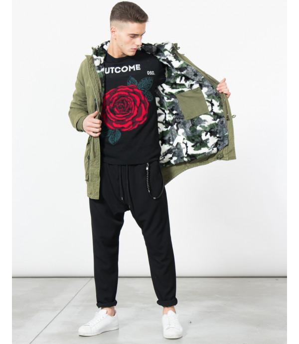 Parka lavaggio vintage con imbottitura in pelliccia sintetica camouflage