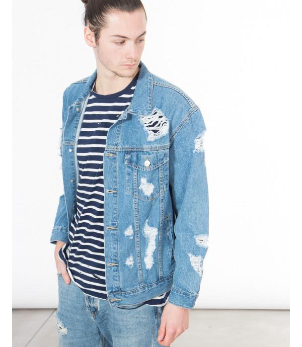 Giacca di jeans con strappi