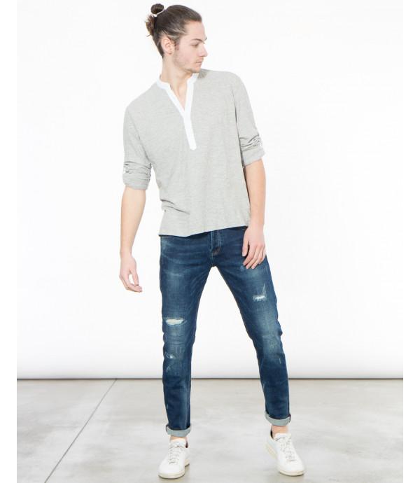 T-shirt serafino a maniche lunghe