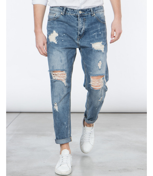 Jeans strappati carrot fit effetto distressed