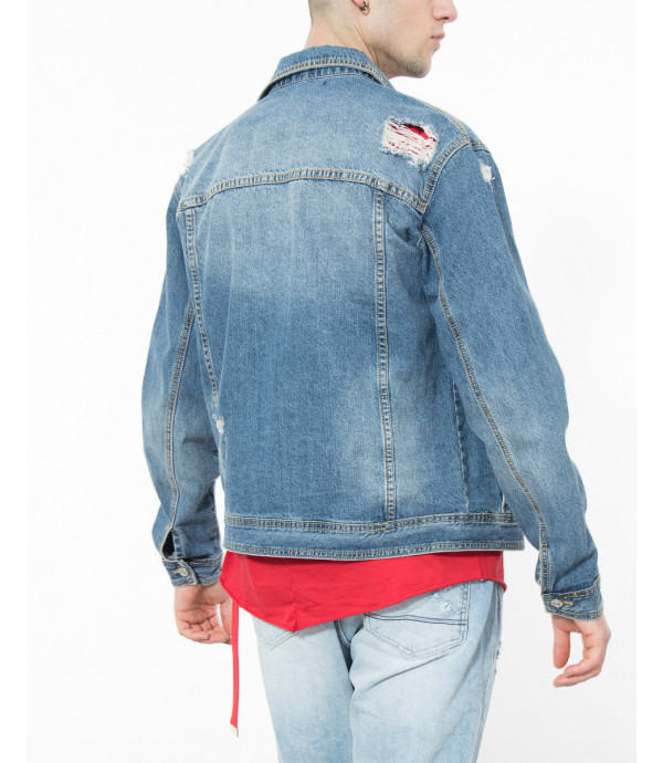Giacca denim con patch