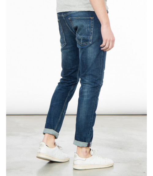 Jeans slim fit slavato rip and repair