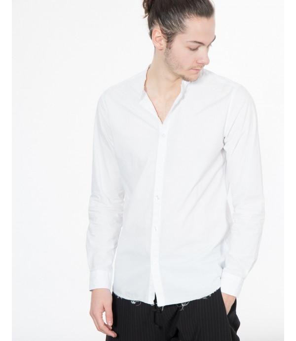 Camicia a righe con colletto ripiegato