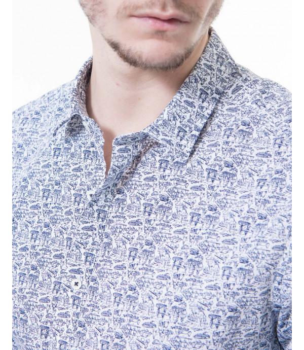 Camicia in cotone microfantasia