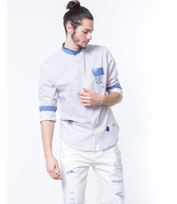 Camicia coreana in microfantasia con patch