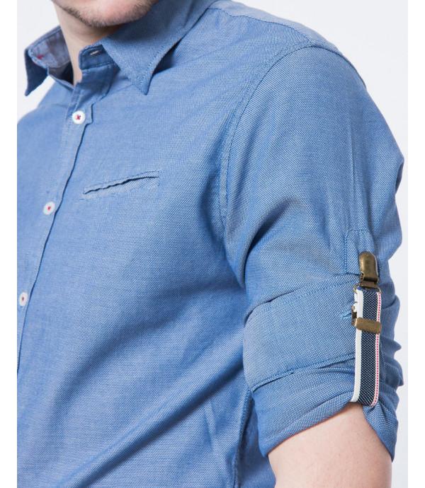 Camicia con linguetta ferma maniche