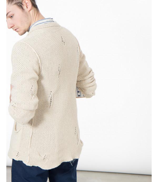 Cardigan in maglia effetto distressed