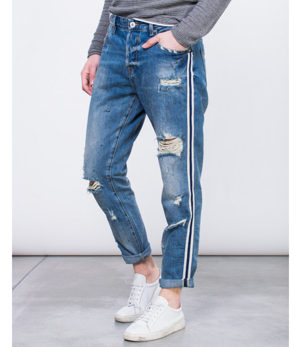 Jeans con banda laterale regular fit