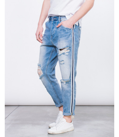 Jeans con banda laterale carrot fit