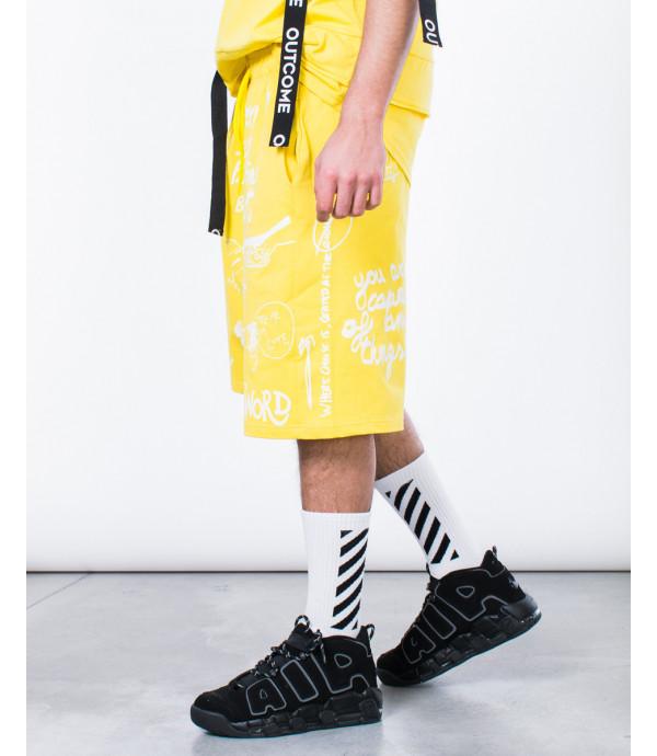 Shorts graffiti in giallo