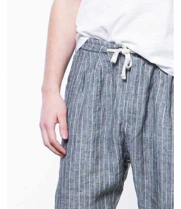 Pantalaccio a righe in lino comfort fit