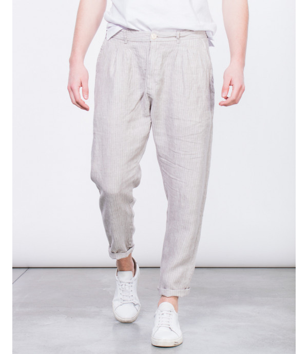 Pantaloni a righe in lino comfort fit