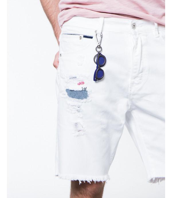Bermuda Jeans Bianco con Accessorio