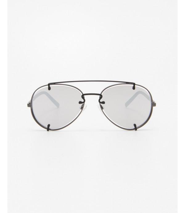 Occhiali aviatore con lente argento